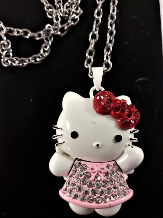 Halskedja med vit Hello Kitty med rosa kjol och strass