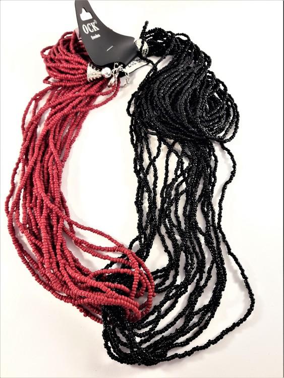Flerradigt halsband av små pärlor, tvåfärgat röd, svart