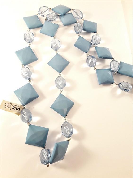 Halsband med Kulor och Fyrkanter Blå