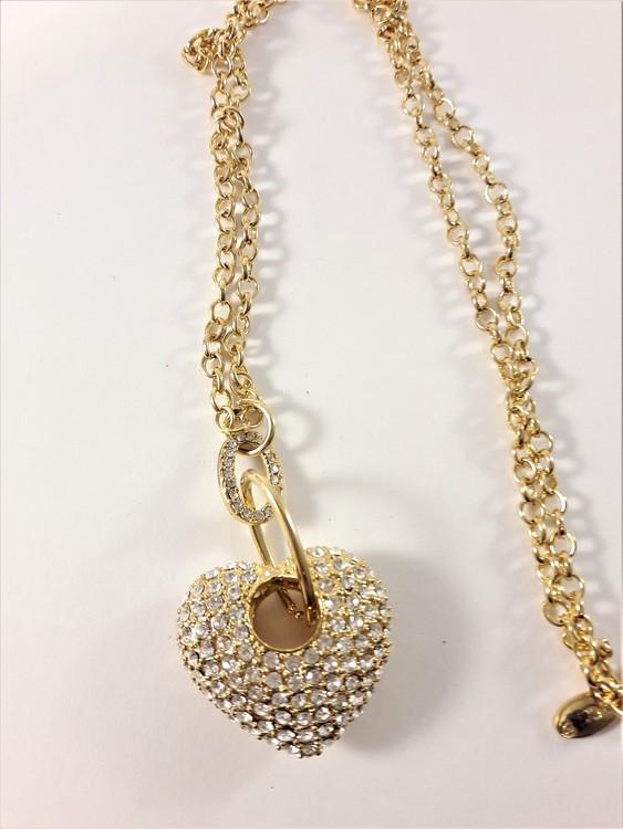 Halsband med hjärta med strass i guldfärg