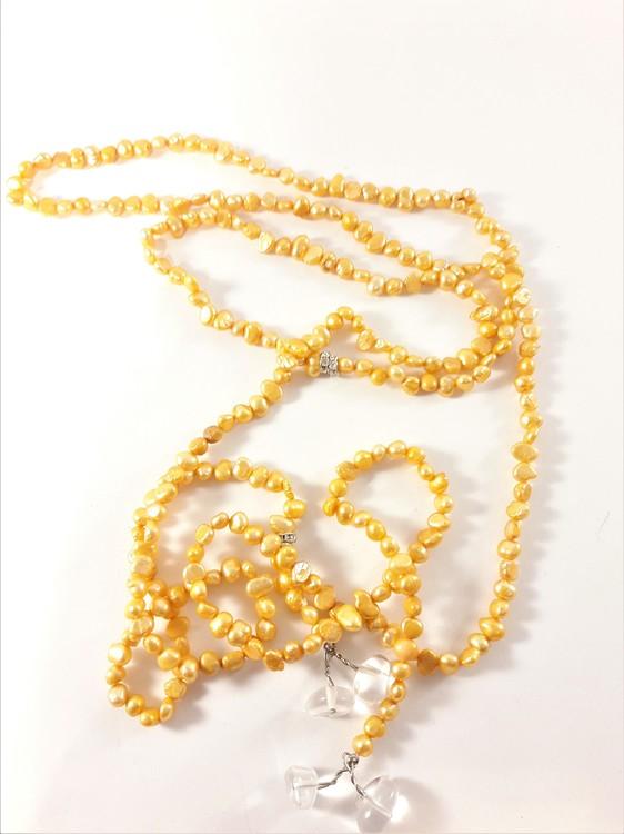 Öppet halsband med små pärlor i orange
