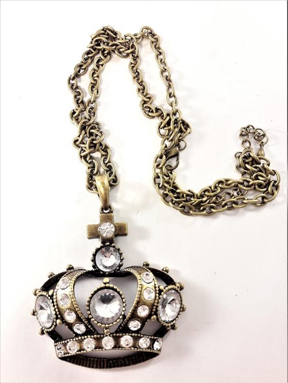 Halsband med krona och glittrande strass i bronsfärg