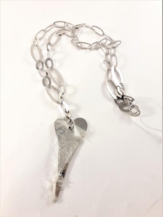 Halsband med Länkar och Hjärta Silverfärg