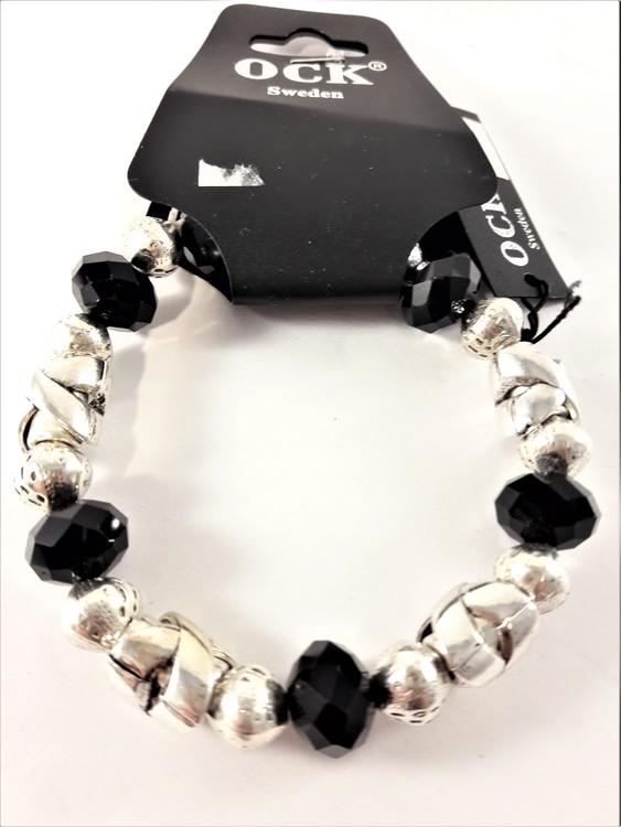 Armband med Pärlor Svart och Silverfärgade Detaljer
