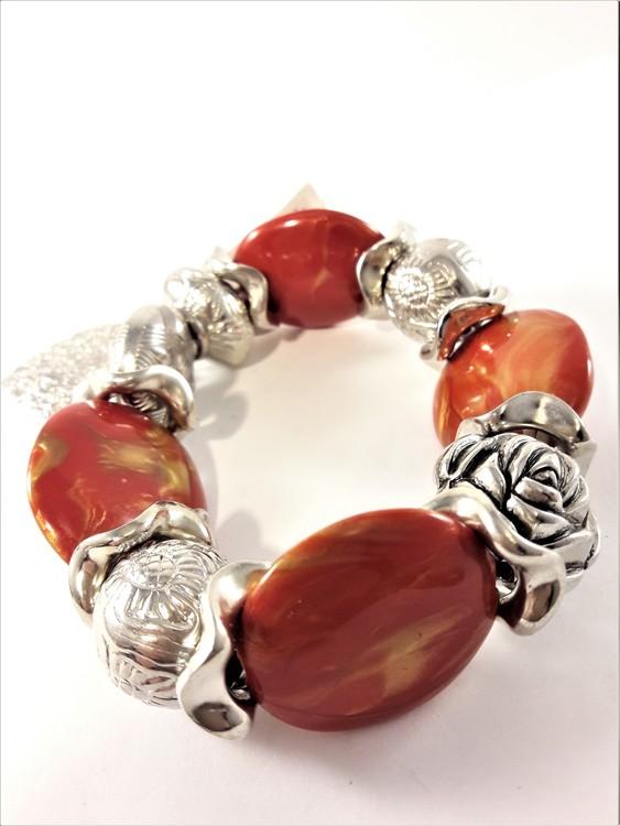 Armband Orange och Silverfärg