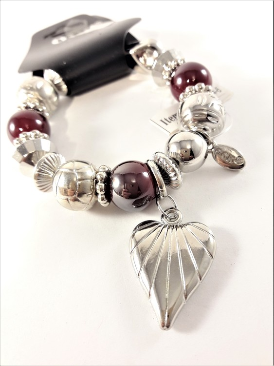 Armband med Hjärta Silverfärg och Röd