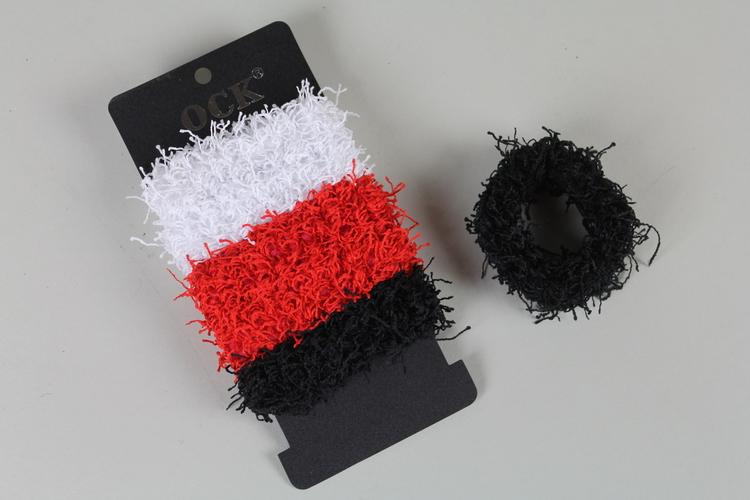 Hårsnoddar, 6 pack. Vita/röda/svarta
