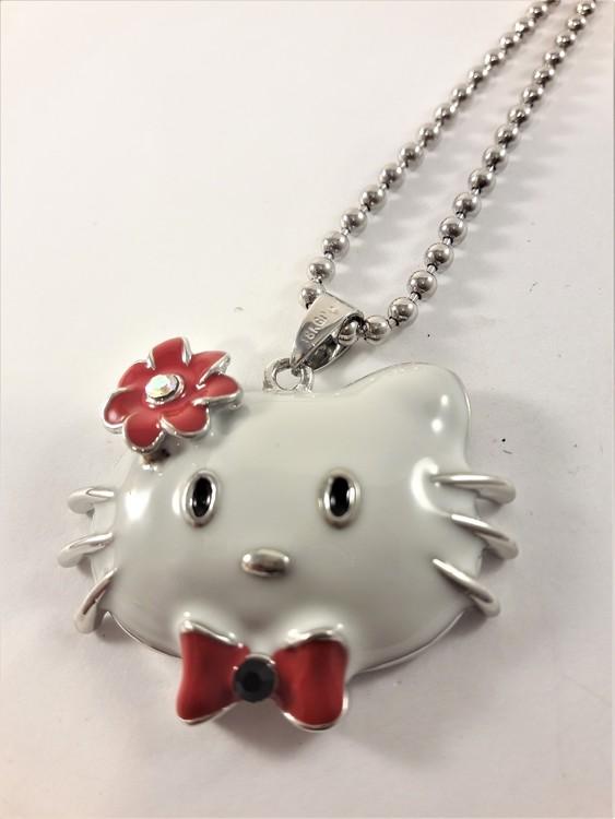 Halskedja med vit Hello Kitty och röd blomma