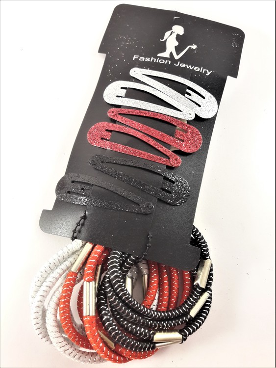 Set med 8 hårspännen och snoddar i röd och vit ton