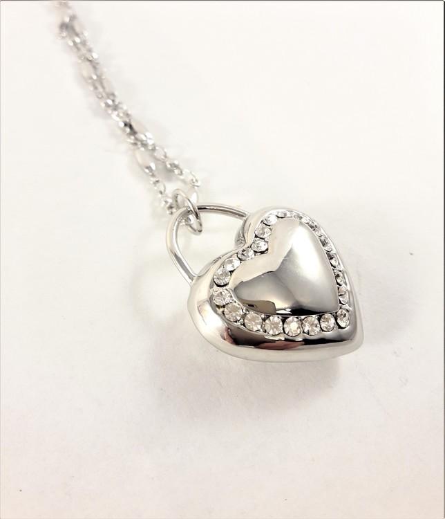 Halsband med Hjärta Silverfärg och Strass