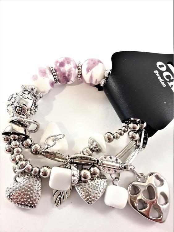 Armband med fina detaljer Lila, Vit och Silverfärg
