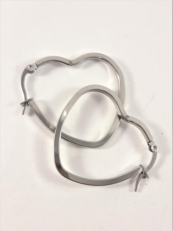 Örhänge i stål, hjärta large, ca 5 cm