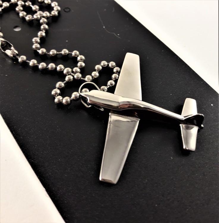 Stål Halsband med Flygplan Hänge Silverfärg