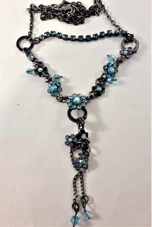 Halsband med kedja och blommor med strass, blå