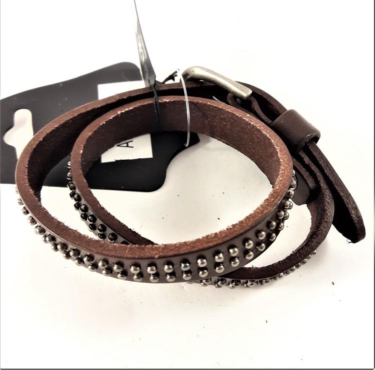 Armband med 2-radig Dekoration Brun Läder