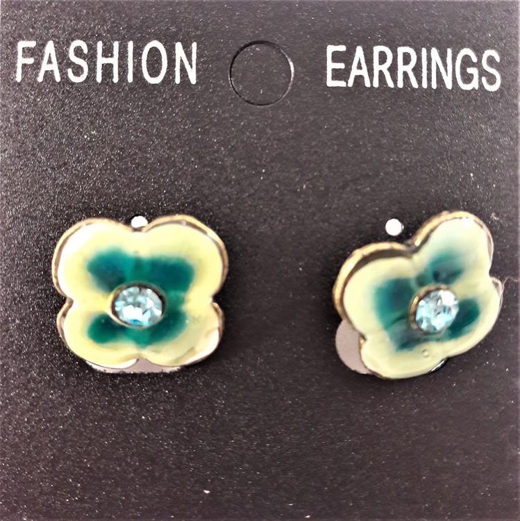 Emaljerat, grönt örhänge i form av blomma