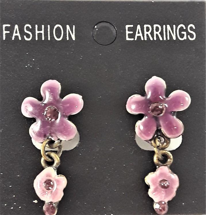 Emaljerat, lila örhänge i form av blomma med liten blomma och strass