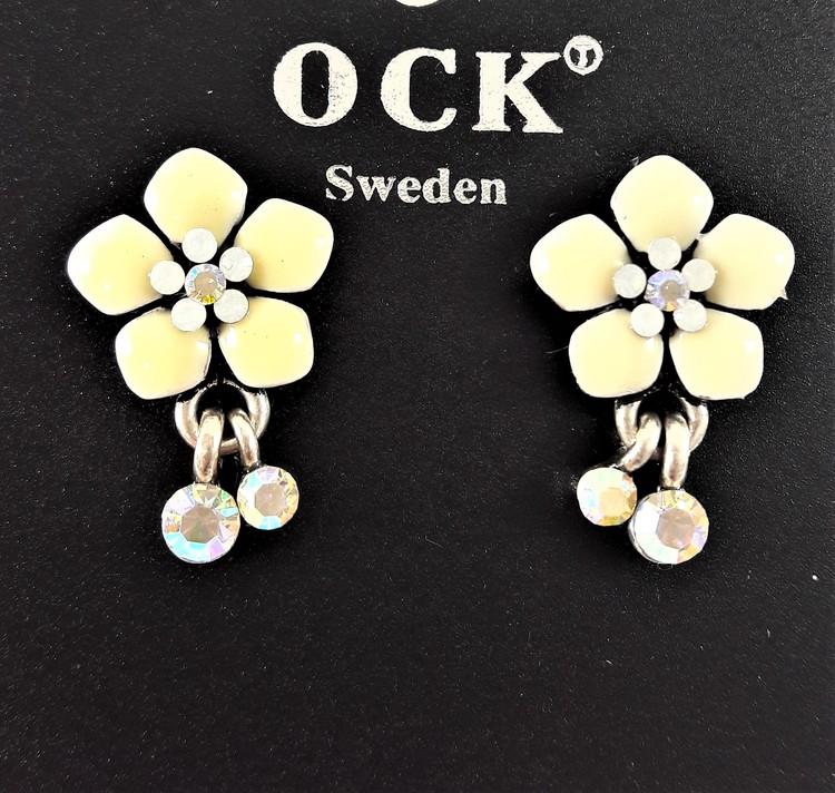 Emaljerat, vitt örhänge i form av fembladig blomma och strass