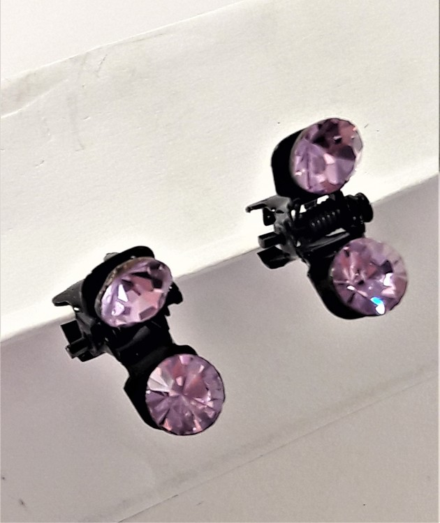 Små hårklämmor med glittrande lila sten, 2 st
