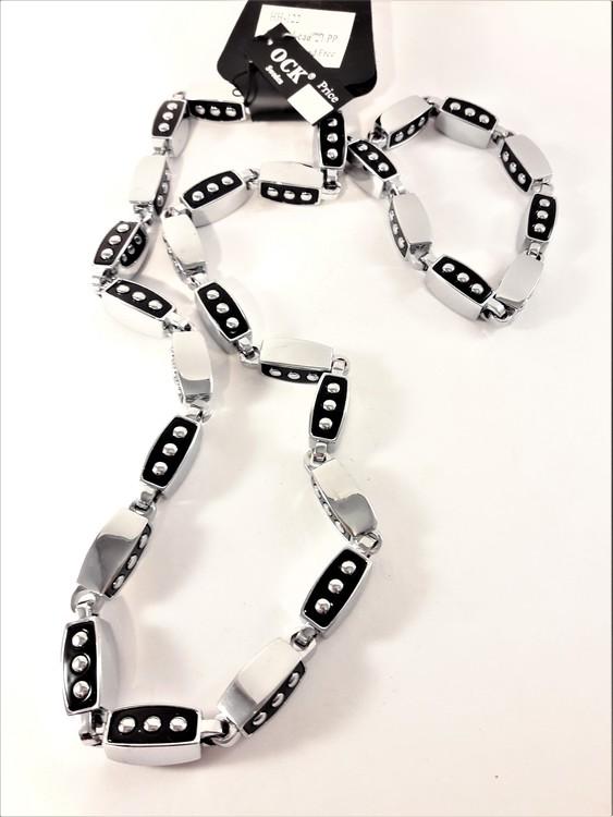 Exklusivt, tungt, silverfärgat halsband med rektangulära länkar och matchande armband