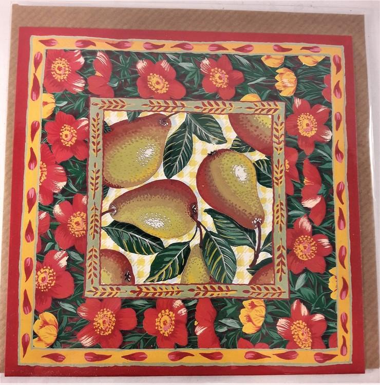 Fyrkantigt grattiskort med päron, utan text