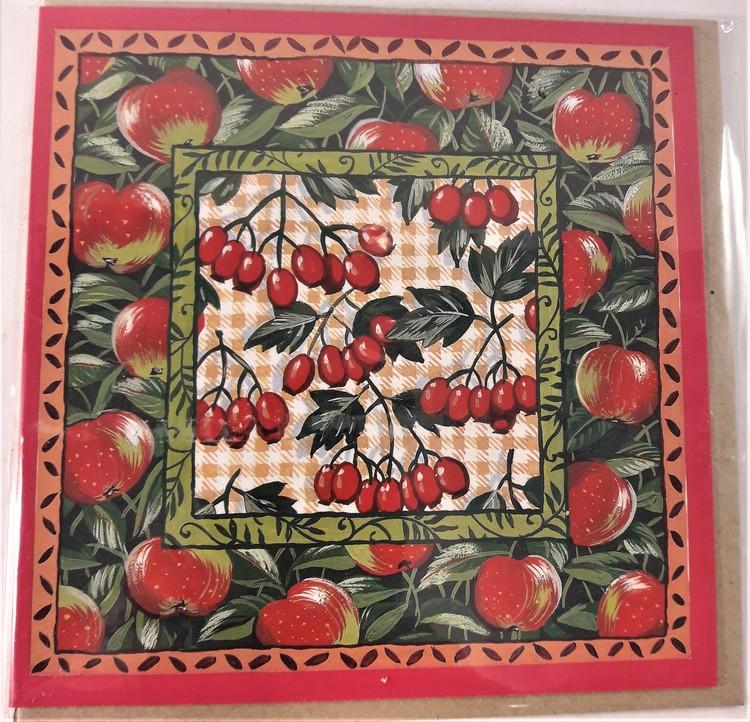 Fyrkantigt grattiskort med äpplen, utan text