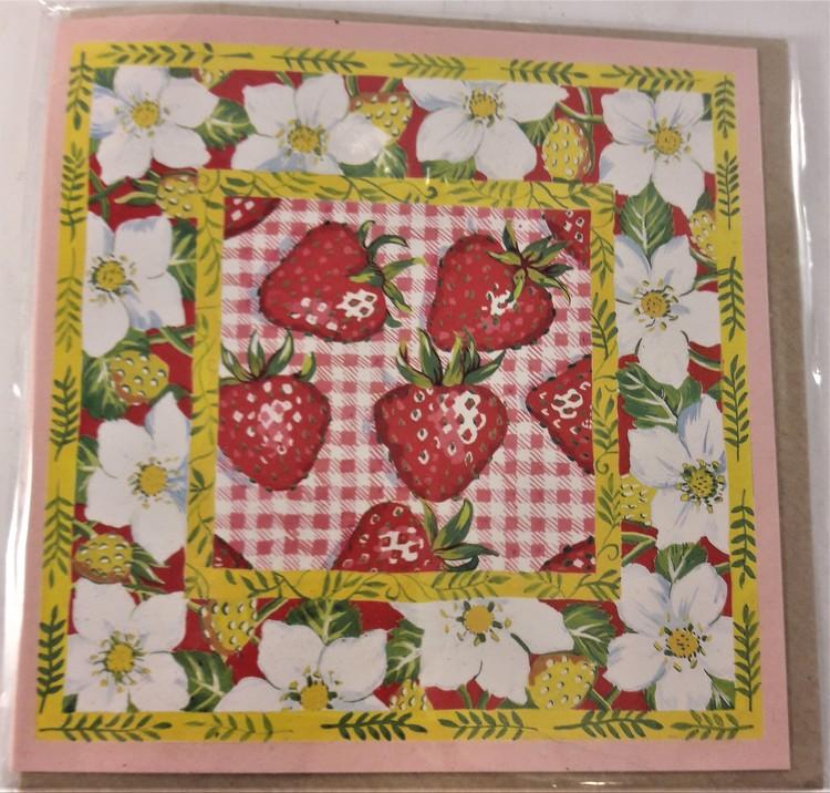 Fyrkantigt grattiskort med jordgubbar, utan text