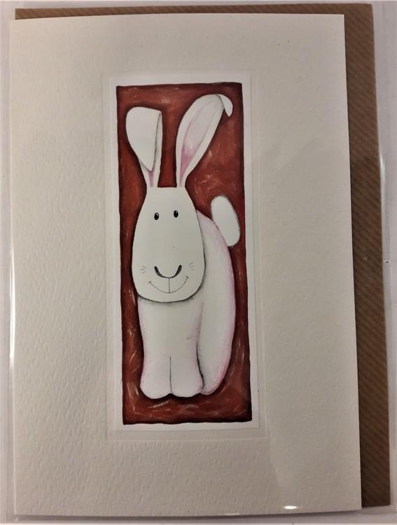 Handgjort grattiskort med kaninmotiv, utan text