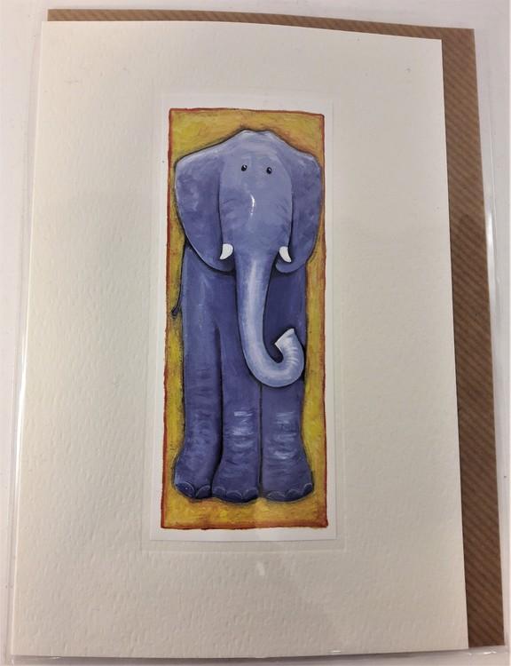 Handgjort grattiskort med elefantmotiv, utan text