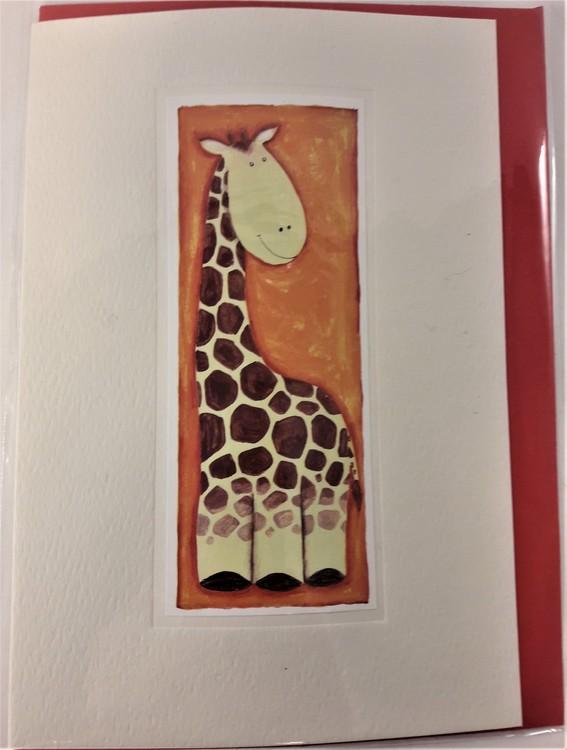 Handgjort grattiskort med giraffmotiv, utan text