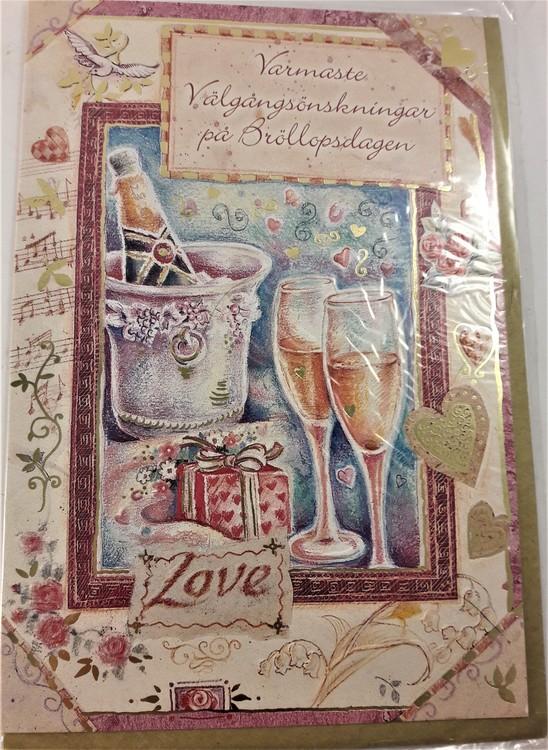 """Kort, """"Varmaste välgångsönskningar på bröllopsdagen"""", med kuvert"""