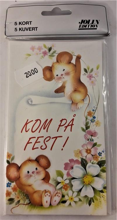 """Inbjudningskort """"Kom på fest"""" med musmotiv"""