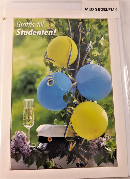 """Grattiskort """"Grattis till Studenten"""", med sedelflik"""