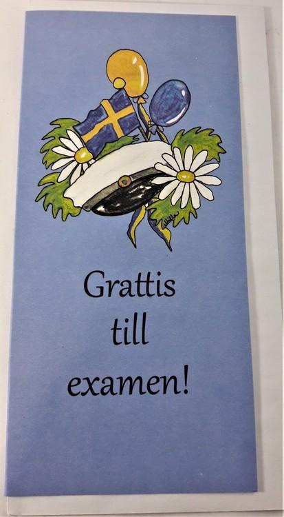 """Grattiskort """"Grattis till Examen"""" med mössmotiv"""