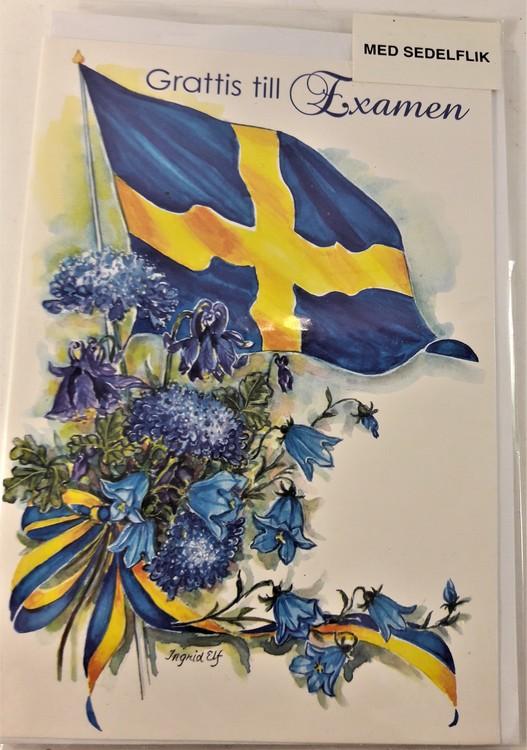 """Grattiskort """"Grattis till Examen"""" med blå blommor"""