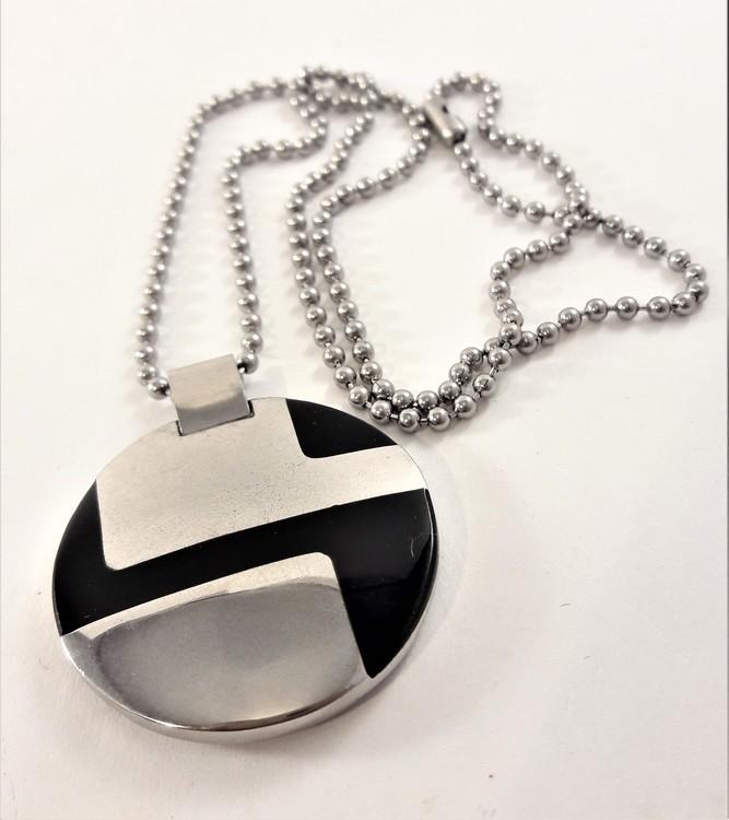 Halsband med Runt Hänge Silverfärg