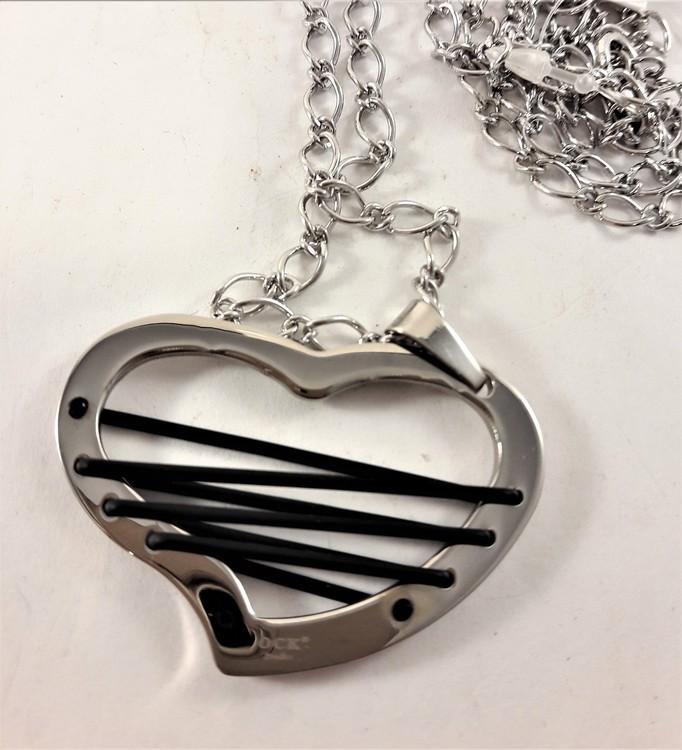 Glest Halsband med Hjärtformat Hänge Silverfärg