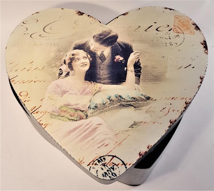 Plåtburk med par, hjärta