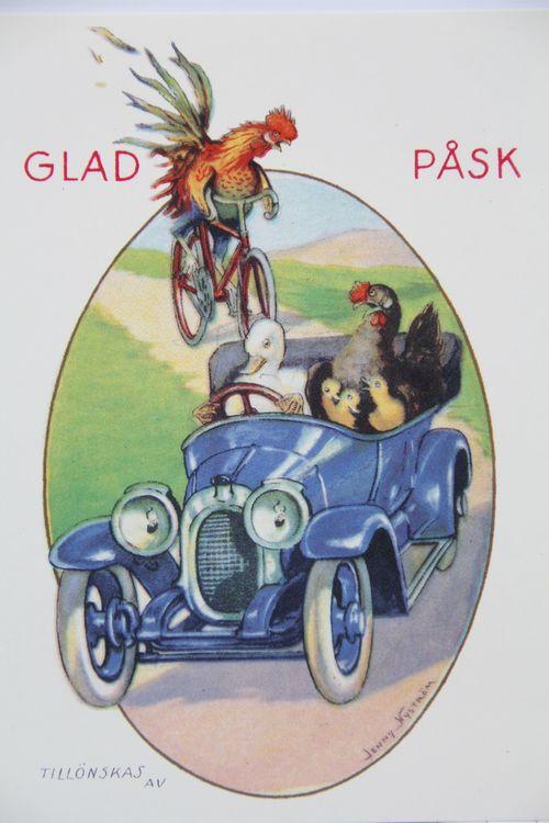 Påskkort, 6 st kort med motiv av Jenny Nyström