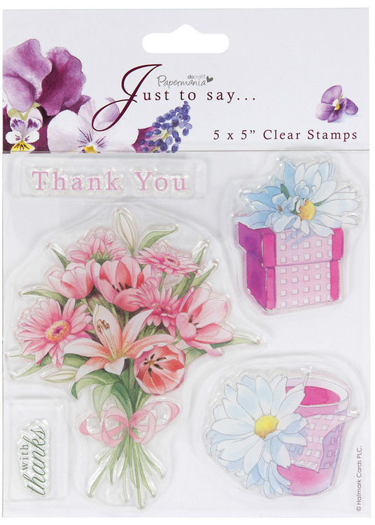 """Papermania 5x5"""" sheet with 5 clear stamps bouquet of Flowers Thank You gift box"""