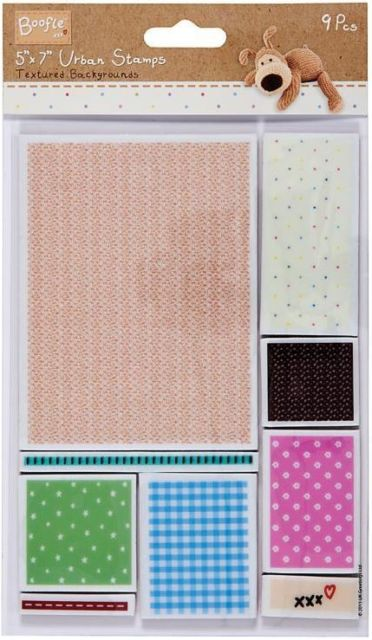 """Docrafts Boofle Urban Stamp Textured Backgrounds 5x7"""" Set Of 9 Stamps"""