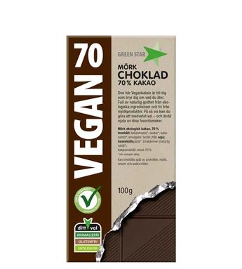 Green star chokladkaka mörk Vegan Ekologisk Glutenfri Mjölkfri 100g