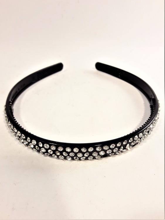 Diadem i svart med glittrig strass