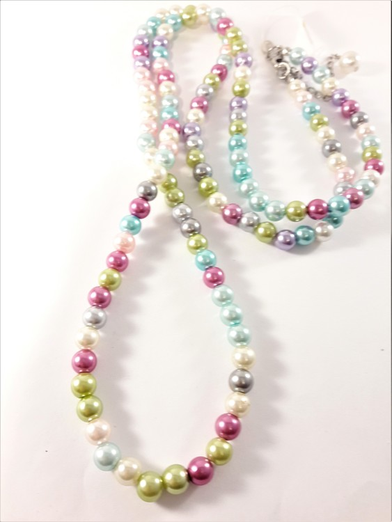 Långt Halsband med Pärlor Pastell Multifärg