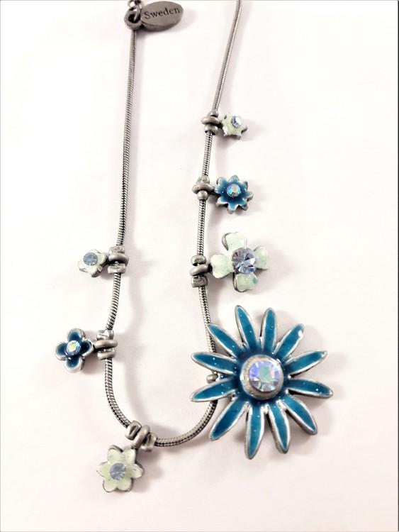 Fotlänk med gnistrande stenar och blå blommor