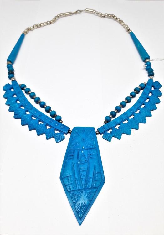 Kort halsband av ben, blått