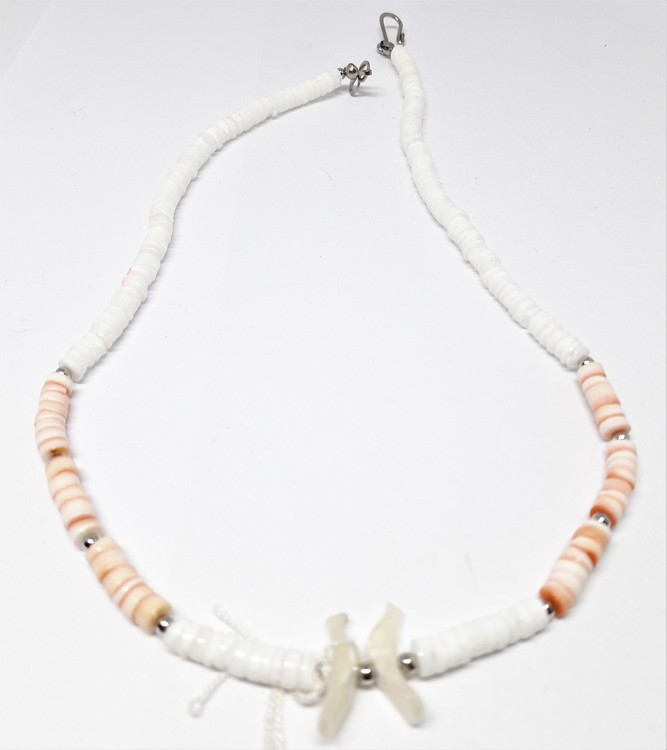 Halsband i ben, vitt och orange
