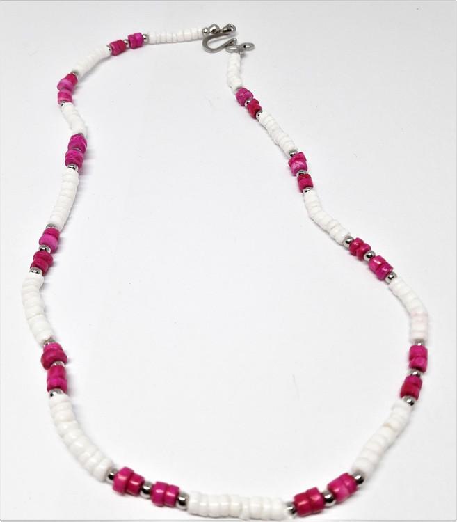 Halsband i ben, vitt och rosa