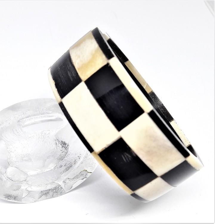 Stelt armband svart/vitt, av buffelben-/horn, D