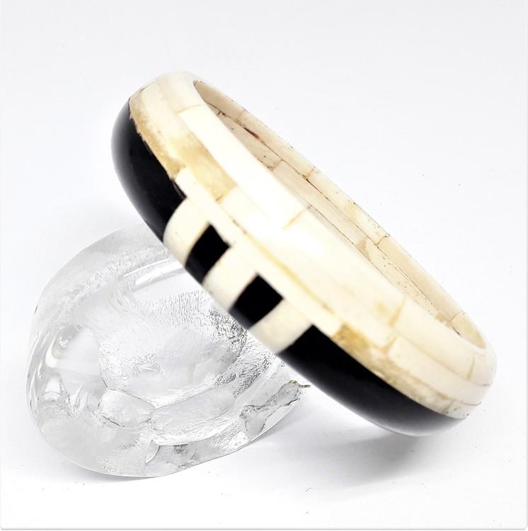 Stelt armband svart/vitt, av buffelben-/horn, G